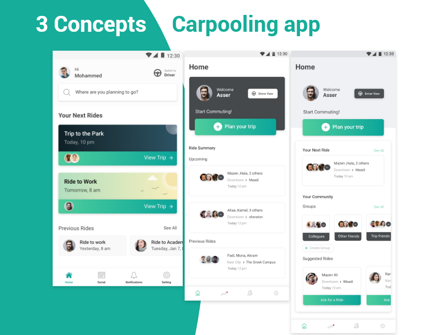Carpooling App 3 Home Concepts By Amr Bakr On Dribbble