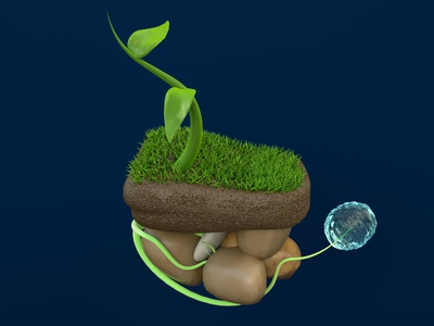 cycle de l'eau coronarender plante nature water maxonc4d 3d