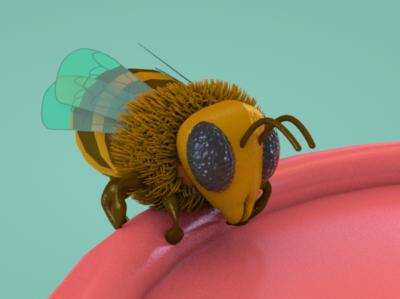 Abeille bee cartoon animal c4d animation illustration 3d