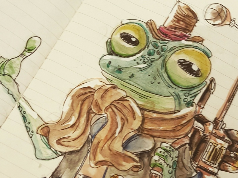 Monsieur Météo weather frog doodle aquarelle illustration