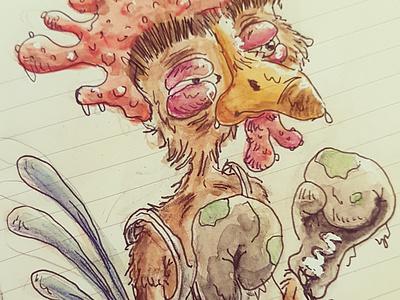 Aaadriaaan old cartoon aquarelle animal cartoon illustration rocky boxe chicken