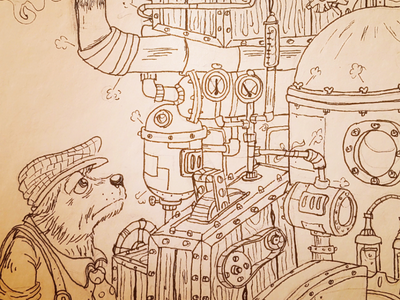 Too busy copic dog steampunk illustration