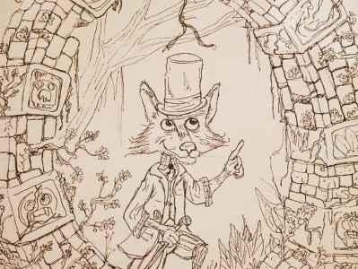 Inktober 2019 fox animal cartoon ring inktober illustration ink
