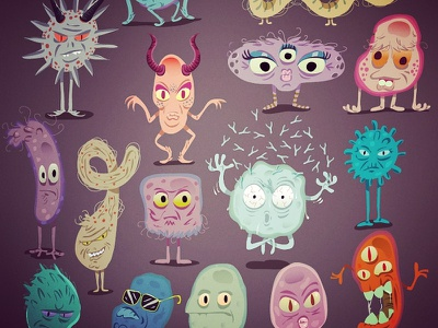Micro-organismes cartoon character vector cartoon microbe illustrator