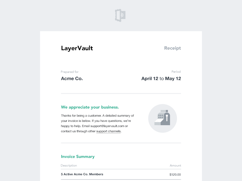 LayerVault Email Invoice email invoice layervault flat receipt clean simple minimal