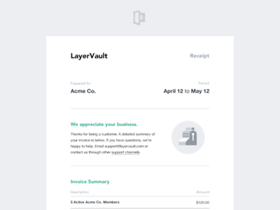 LayerVault Email Invoice