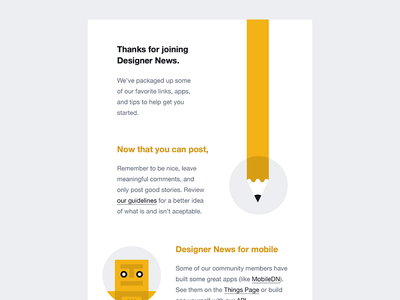 Designer News Welcome Email