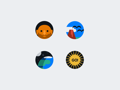 Activity Feed Empty State Icons person volcano earth explosion