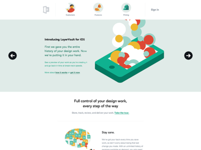 LayerVault for iOS Homepage layervault ios flat website web landing layout homepage minimal simple clean colorful