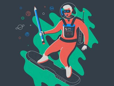 Creator of planets retro retrofuturism vector illustration