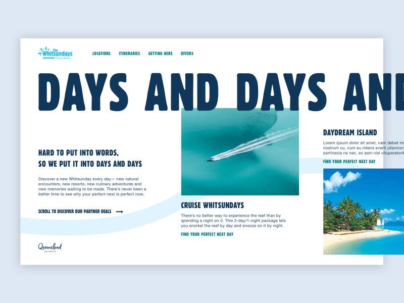 Whitsundays Landing Page grid design whitsundays queensland tourism website horizontal scroll desktop ui design landing page web design website