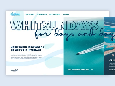 Whitsundays Landing Page - Days and Days travel travel website whitsundays queensland tourism website horizontal scroll minimal landing page web design ui website