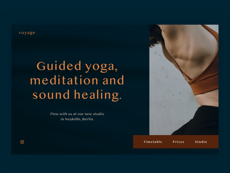Voyage Yoga Studio - Homepage Experiment branding yoga website yoga design minimal landing page web design ui website