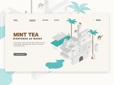 Mint tea morrocco isometric illustration tea