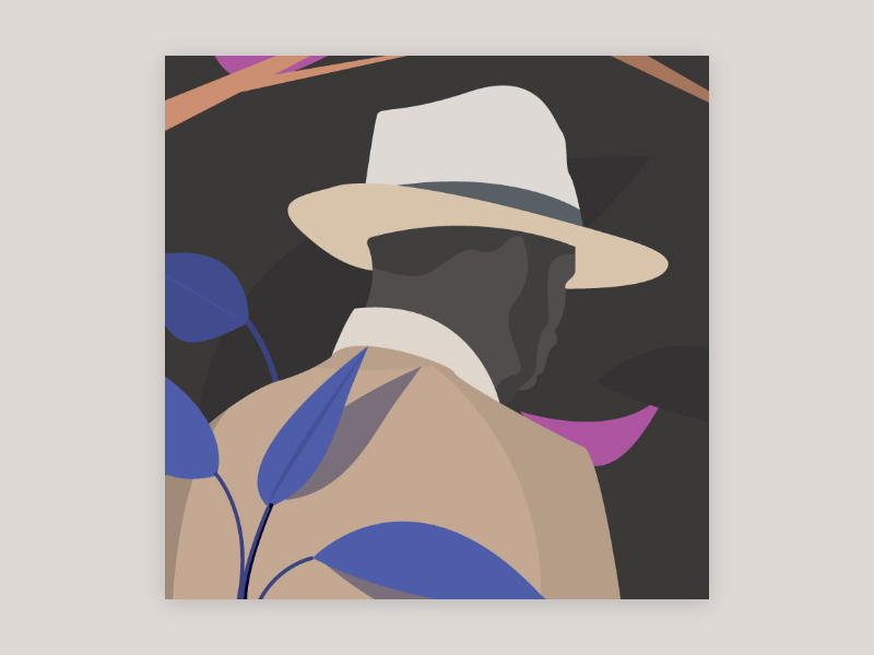 In the wood shapes mister sir summer vector illustration wood plants forest man hat