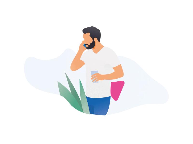 Illustration Call vector plants startup office call team beard man communication illustration