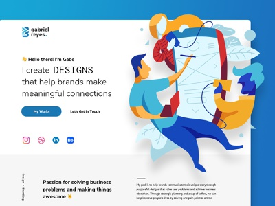 Gabriel Reyes - Personal Website identity design personal brand freelance logo uxdesign uidesign branding illustration website design