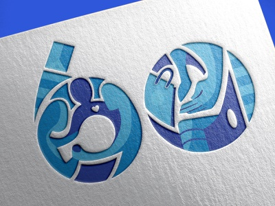 60th Anniversary typography identity design branding illustration design logo design symbol logo