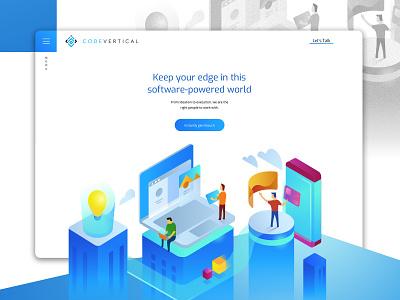 Code-Vertical Website Design vector isometric illustration ux ui startup identity design design illustration branding