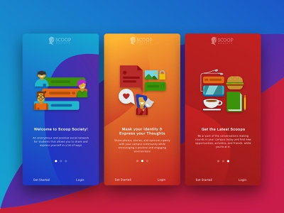 Scoop Society Onboarding userexperiance userinterface onboarding screen onboarding gradient startup illustration ux ui design