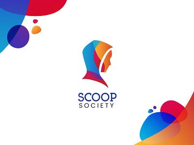 Scoop Society Logi illustration gradient identity design wordmark logo design symbol branding logo