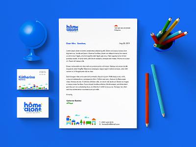 Home Alone Stationary Design design wordmark logo design identity design illustration branding