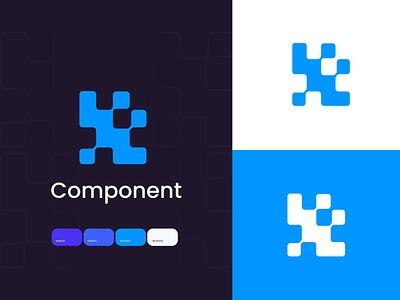 Component logo flat product adobe minimal vector icon creative logo branding design