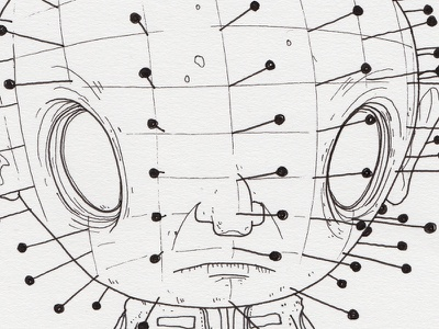 "Monster Mash / Inktober Day 14 ""Pinhead"" hellraiser pinhead inktober ink drawing monster inktober2017"