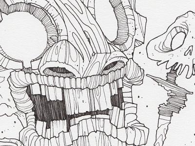 "Day 19 ""Tiki Monster"" (Monster Mash / Inktober) tavo montanez monster mash inktober2017 monster drawing ink inktober"