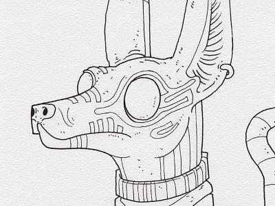 """Day 22 """"Anubis"""" (Monster Mash / Inktober) anubis tavo montanez monster mash inktober2017 monster drawing ink inktober"""