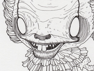 "Day 28 ""Pennywise"" (Monster Mash / Inktober) stephen king pennywise it tavo montanez monster mash inktober2017 monster drawing ink inktober"