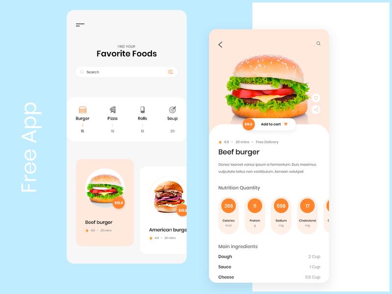[Free] Food App adobe xd xd ui ux mobile ui list app design menu set menu drink search icons restaurant app food app food