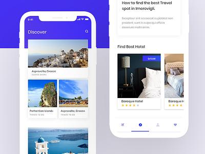 Travel Application travel app booking clean flight inspiration map