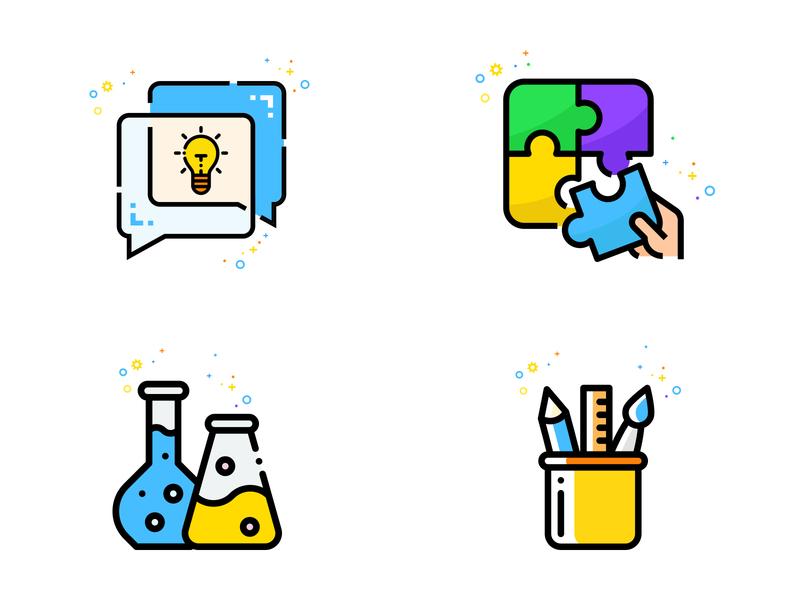 Icon Set (Creative, Lab, Pencil, Puzzle) pencil icon lab icon design icon set illustraion modern creative design creative idea