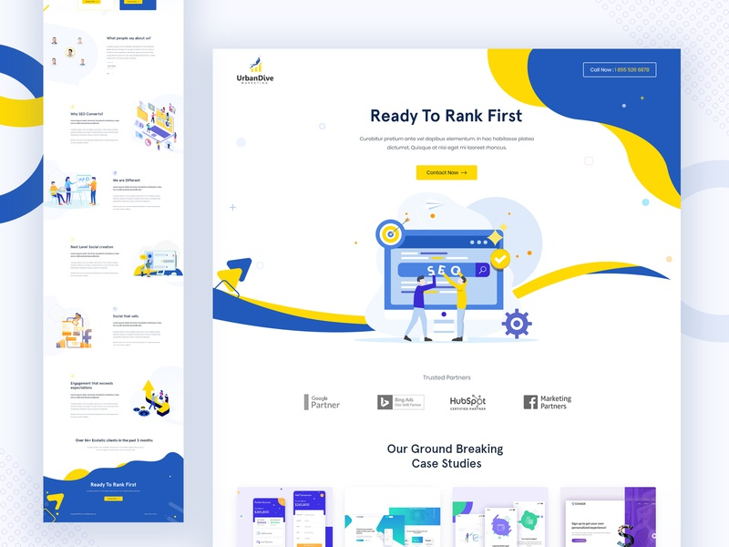SEO Marketing Agency Landing Page illustration ui landing page advertising startup creative corporate colorful ux agency marketing seo seo agency landing