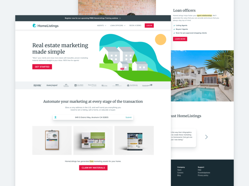 HomeListings Landing page marketing homes landing real estate