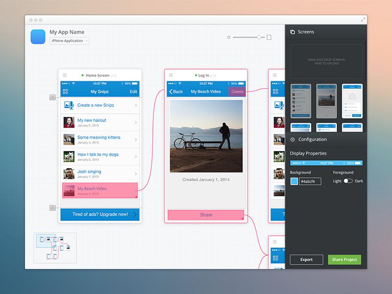 iOS Prototype Builder - Mac App mac app application prototype builder creator maker concepts preview ios iphone apple