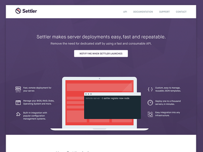 Settler website settler landing page purple red illustration server computer terminal