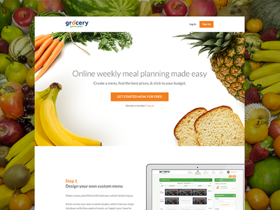 Meal planning landing page food fruit vegetables plan meals bread carrots pineapple white orange