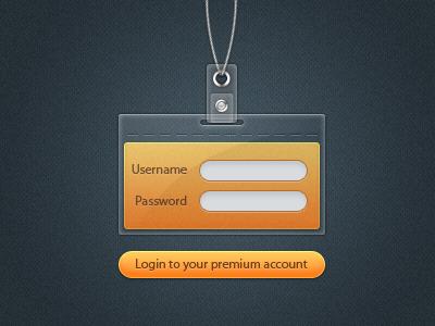Login Badge login badge tag cord lanyard gold premium account psd