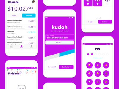 Kudoh club credit balance pin emoji money pink purple finance mobile ios