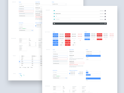 Internal component library blue red inputs form buttons components styleguide