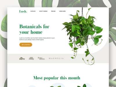 Lush landing page subscription cta green plants landing page