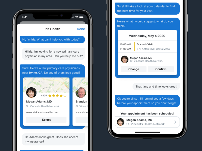 Iris Health Assistant schedule appointment doctor chat health bot