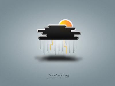 The Silver Lining cloud dark grain texture sun weather orange storm silver lining shadow rain gradient lighting yellow metal illustrator