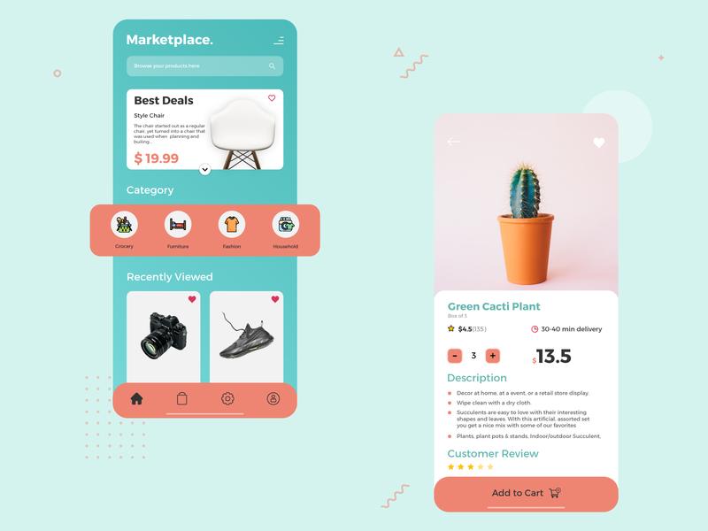 Marketplace UI Design gradient graphic design simple design uidesigns app design app icon ux ui typography design flatdesign illustrator cc