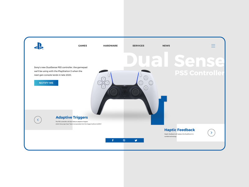 PS5 Controller Landing Page controllers ps5 ps4 uidesign landing page concept landing page design landingpage graphic  design creative typography vector design illustrator cc