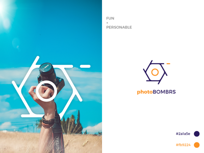 Photobombrs Logo Concept simple design illustration creative graphic  design typography vector design flatdesign illustrator cc logo design logo
