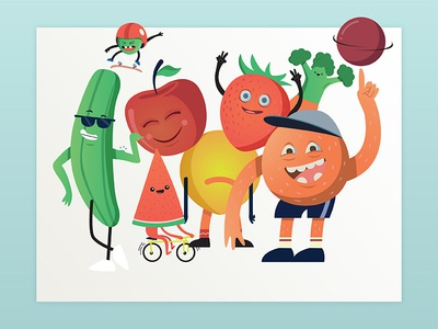 Fruit gang illustrator smile health vegetables fun fruit characters character illustration vector