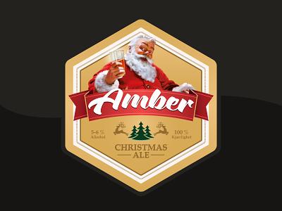 Christmas Beer Label santa logo ale amber christmas illustration design label beer